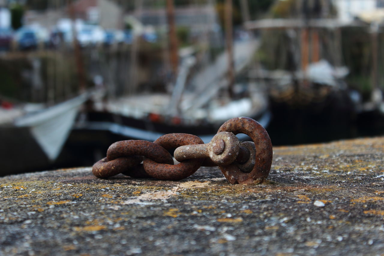 rusty, metal, no people, focus on foreground, moored, outdoors, close-up, day, strength, cleat, harbor, nautical vessel