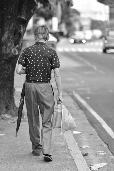 Rear View Back Senior Adult Outdoors Human Back One Person Only Men Men Adult One Man Only Adults Only People Day Black And White Black And White Photography Black And White Portrait Black And White Street Photography