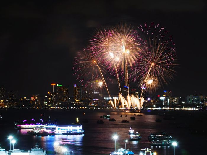 Pattaya International Fireworks Cityscape Illuminated Multi Colored City Arts Culture And Entertainment Firework Display Celebration Firework - Man Made Object Long Exposure Awe Entertainment New Year's Eve New Year's Day Light Painting New Year