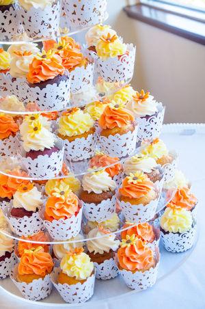 Cupcakes Wedding Frosting Orange Yellow White