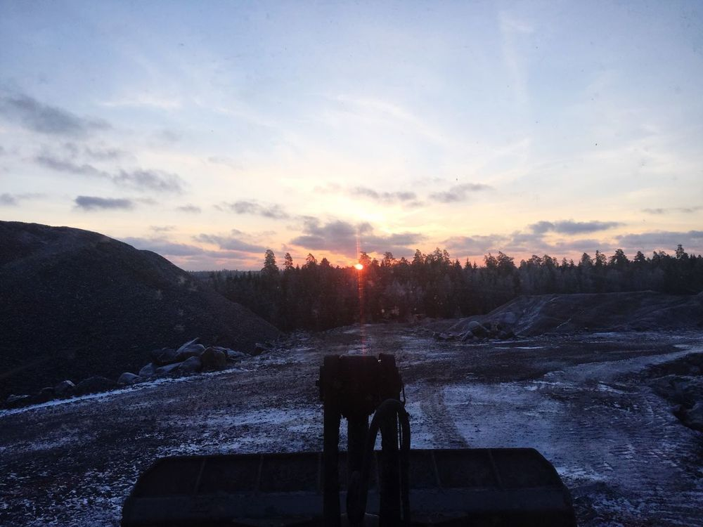 Work Operator Frontloader Wasteland Landfill Volvotrucks Sky Tree Plant Cloud - Sky Snow Nature Cold Temperature Beauty In Nature Sunset Winter Environment Silhouette Tranquility Land Outdoors