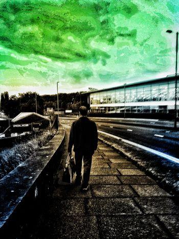 Walking Around Outdoors Road Evening Dramatic Bag Men Full Length Silhouette Sky Street Scene Empty Road Road Marking