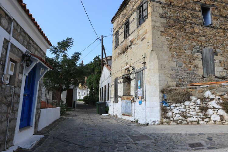 View of Chora, the capital of Samothrace island, Greece. Chora Greek Islands Architecture Building Exterior Built Structure Cobblestone Cobblestone Street Day Door House No People Outdoors Samothrace Samothraki Sky Street Village View