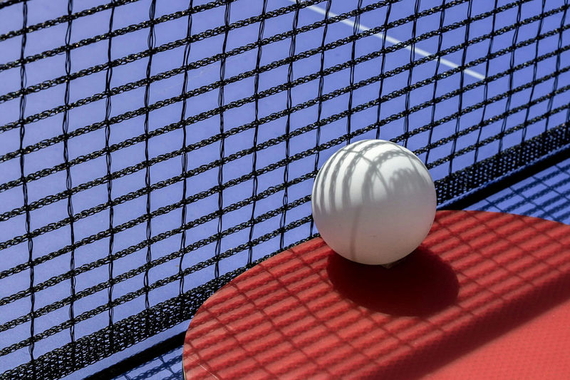 Close-up of ball on tennis table