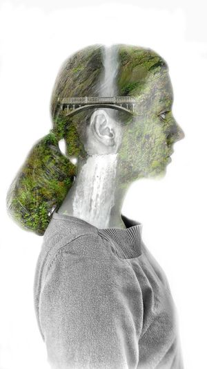 Digital composite image of human face against white background