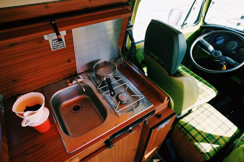 First coffee in the new bus Westfalia Camping VW Bus Indoors  High Angle View No People Domestic Room Kitchen Home Domestic Kitchen Household Equipment Kitchen Sink Still Life Day