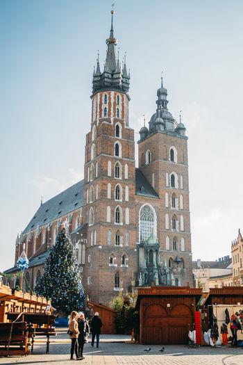 Krakow Main Square St Mary's Church Mariacki Kościół Poland Winter Xmas Christmas Market
