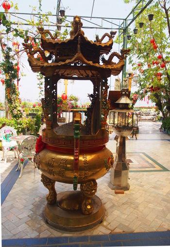 Cultures Day Decoration Gold Colored Incense Burner Joss-stick Pot Ornate Travel Destinations