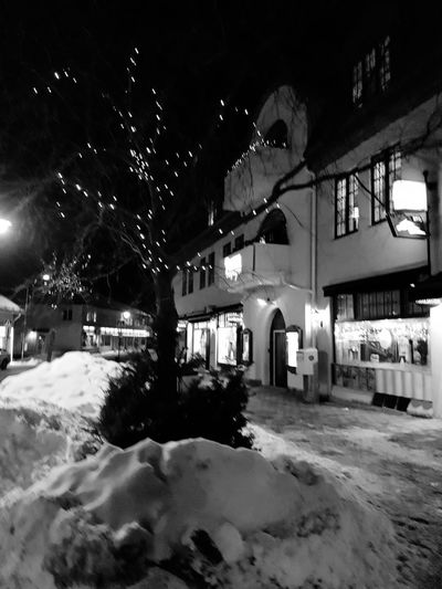 Blackandwhite Old Building  Tree LightInTheDarkness Lightinthetrees Sunne Sweden Tree Snow Winter Cold Temperature Building Historic Street Light Lamp Post Building Exterior