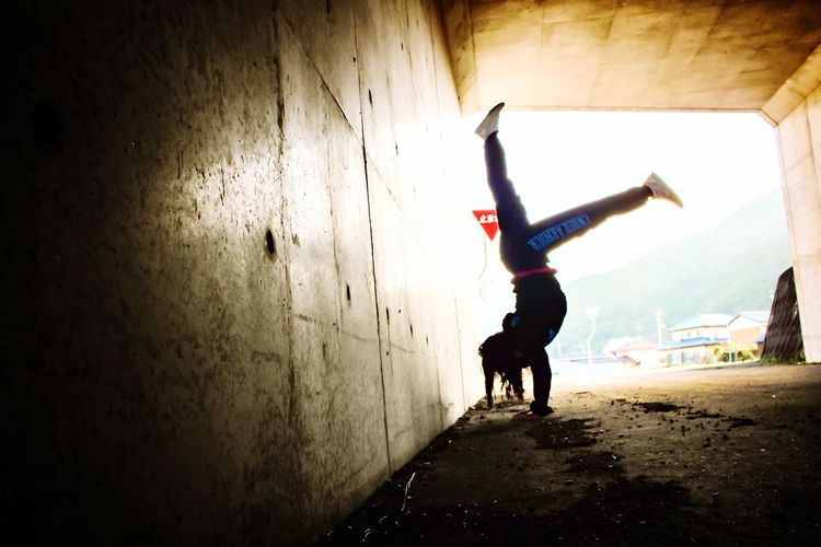 Here Belongs To Me Tunnel Stop Sign Sign Boards Sign Stop Handstand  Handstand ♥  Arms Yoga Yoga ॐ Yoga Pose Woman Fit Pose Nature Active Activewear Place