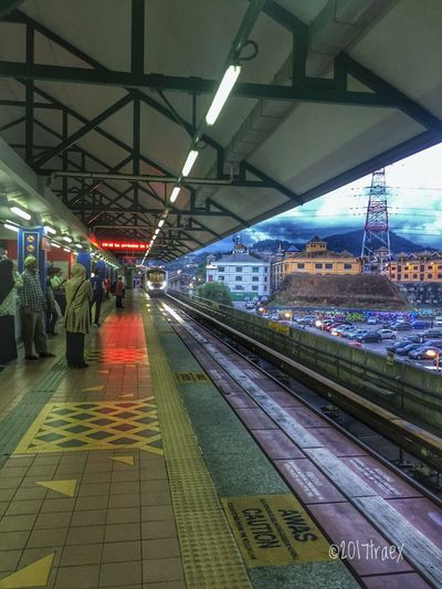 Waiting for the train Illuminated Ceiling Railroad Station Lighting Equipment Railroad Station Platform Night Indoors  Large Group Of People People
