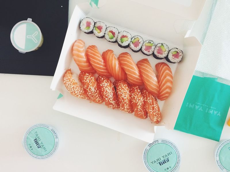 Cyberspace Day Food Food And Drink Indoors  No People Seafood Sushi Sushi Time Top Perspective Top View