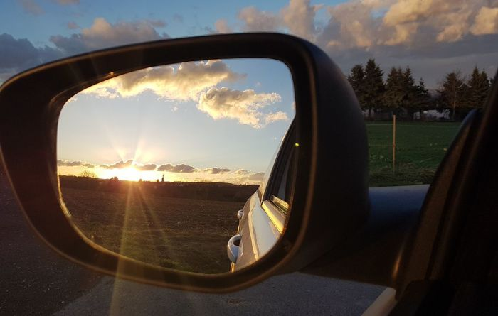 Sunset Mirror Car Reflection Side-view Mirror Cloud - Sky No People Sky Vehicle Mirror Water Day Nature Outdoors Close-up EyeEmNewHere EyeEm Best Shots Eyeem Selction