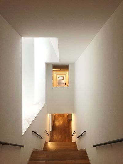 High Angle View Of Empty Steps In Building