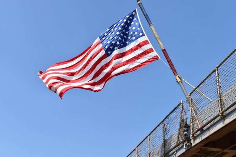 The Flag of the USS Fort Henry! blowing in the wind! America American Flag Army Clear Sky Coast Guard Digital Photography Fitzsphotos Fleet Week Fort Henry Marines Memorial Day Navy New York Nikon Patriotism Red White And Blue Staten Island United States Wind
