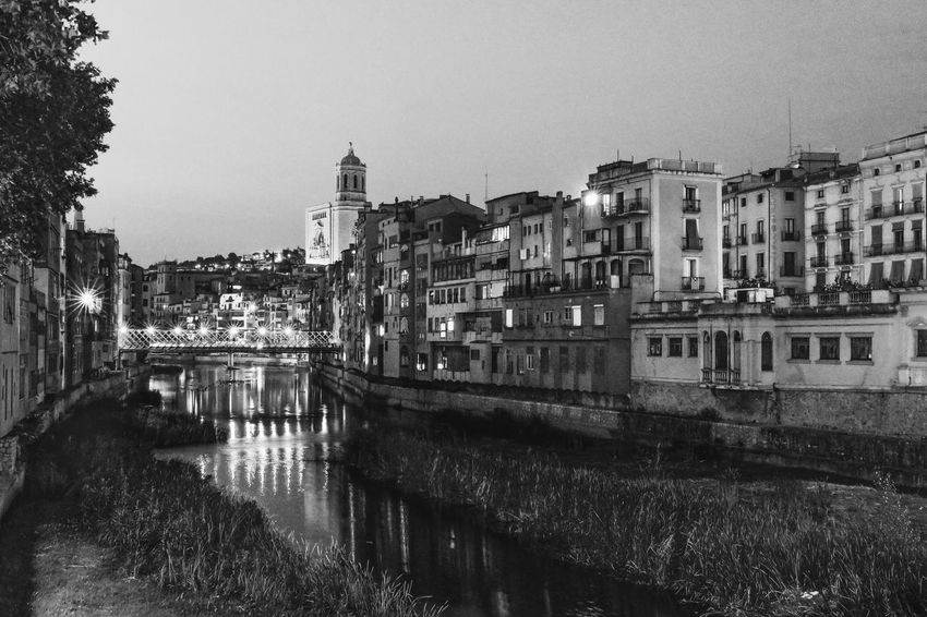 Cathedral Girona Cathedral Night Lights River View Riverside Architecture Black And White Bridge Building Exterior Built Structure City Clear Sky Day Eiffel Bridge Night No People Outdoors Residential Building River Sky Tree Water