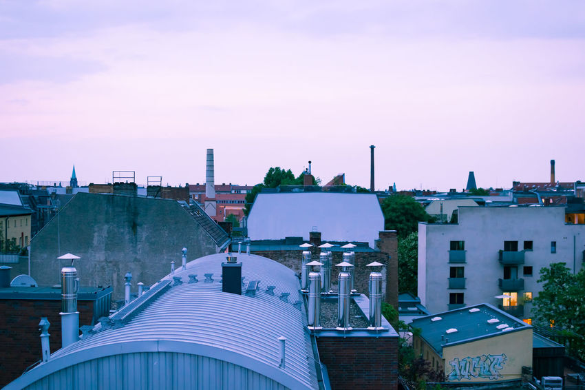 Arch Architecture Berlin Blue Building Building Exterior Built Structure Capital Cities  City City Life Cityscape Cloud Development Dusk In The City Modern No People Prenzlauerberg Residential Building Residential District Rooftops Sky Tinted Travel Destinations