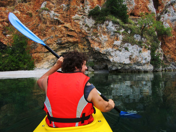 Lake Water Cliff River Red Tranquility Rock Formation Tranquil Scene Solitude Getting Away From It All Casual Clothing Person Day Outdoors Escapism Non-urban Scene Remote Scenics Tourism Trasportation Senzapaura Albero Meraviglioso Green Color Macedonia