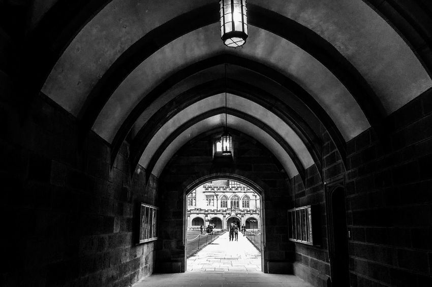 The tunnel of light Monochrome Black And White Light And Shadow Arch Architecture Built Structure Indoors  Building The Way Forward Ceiling Direction Day Illuminated Wall - Building Feature Architectural Column Entrance Arched Arcade