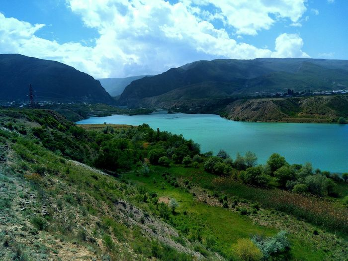 Река Сулак, Дагестан. Mountain Cloud - Sky Water Nature Lake River Outdoors Sky No People Green Color Beauty In Nature Landscape Day Tree Travel Destinations Dagestan UnderSea Blue Tranquil Scene Tranquility LeEco LeTv X600