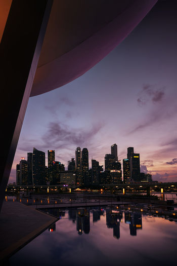 Architecture Reflection Urban Skyline City Financial District  Singapore View Sunset Dusk In The City