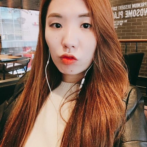 Leather Jacket Self Portrait Brown Hair Red Lipstick Beauty Front View