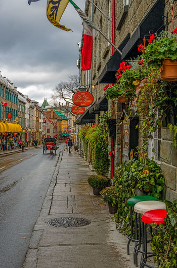 View Looking East along the Rue Saint Louis, Old Quebec City Adapted To The City Architecture Chinese Lantern City Cloud - Sky Cultures Day Italian Theme No People Outdoors Red Sky The Way Forward Travel Destinations