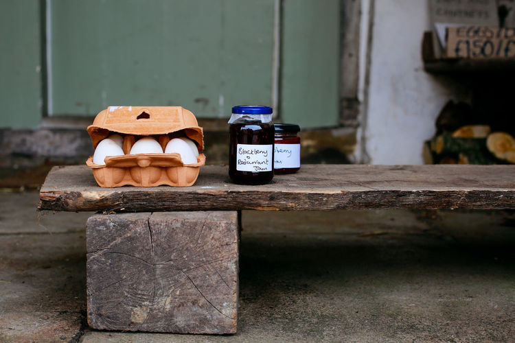 Local produce Food Day Outdoors Rural Eggs United Kingdom Homemade England Fresh Jars  Jam Close-up No People Village Life Lacock Local Produce Focus On Foreground Honesty Box Authentic Rustic Rural Scene Organic Countryside Country Life Local Food