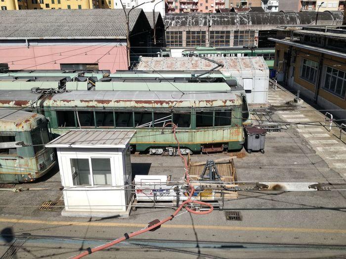 Tram junkyard high angle view