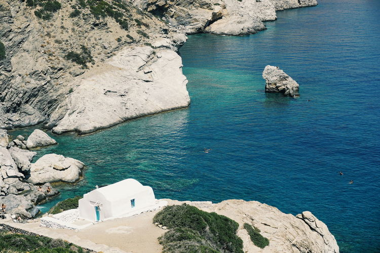 Little Church Church Greek Church Amorgos Beauty In Nature Cliff Cyclades Day Greece Greekislands High Angle View Nature No People Outdoors Rock - Object Rock Formation Scenics Sea Tranquil Scene Tranquility Water