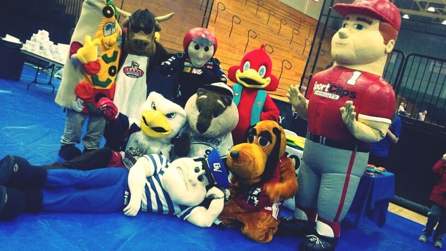 There are a lot of mascots here...