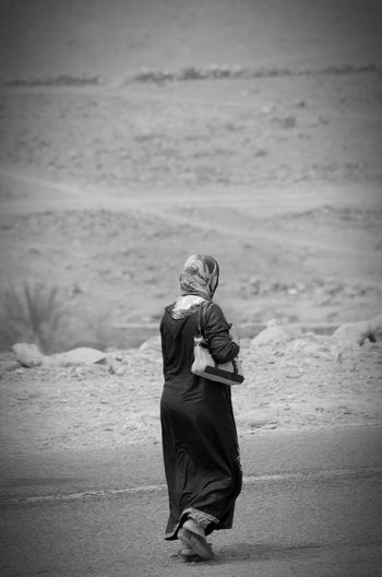 Walking in the desert Desert Womam Walking Route Morocco Africa Blackandwhite Muslim Streetphotography People
