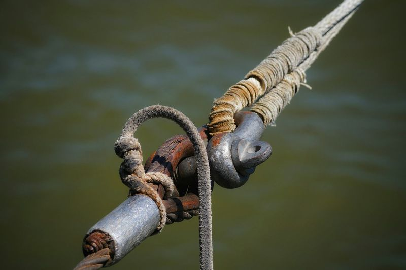 Close-Up Of Pulley By Lake