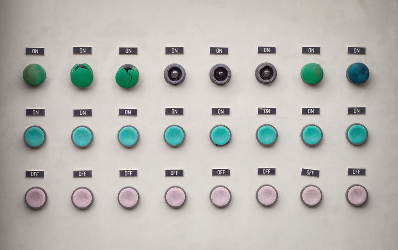 View Of Multi Colored Push Buttons