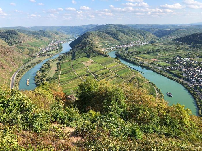 Moselschleife Moselschleife Mosel River In Germany Mosel Sky Beauty In Nature Water Scenics - Nature Plant Nature Day Tranquility High Angle View Tranquil Scene Land Growth Green Color Landscape Cloud - Sky Outdoors Tree Environment No People Agriculture