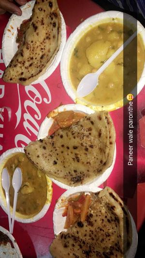 Hehe that's the signature dish of all Punjabi's. And trust me that was really yumm. 😁 Hi! Hello World Check This Out Punjabi Food. Punjabi Dish Prantha Night Out With Friends Full Fun Full Masti In Delhi Delhi, India Delhi