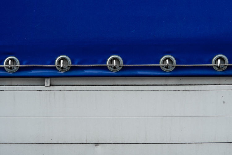 Close-up of blue pipes