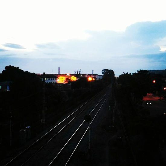 Train - Vehicle Transportation Railroad Track Rail Transportation City Sky No People Public Transportation Cloud - Sky Night Illuminated ZenfoneSelfie Tree