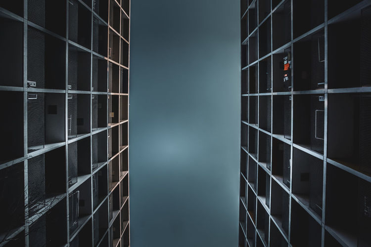 Low angle view of building against sky at night