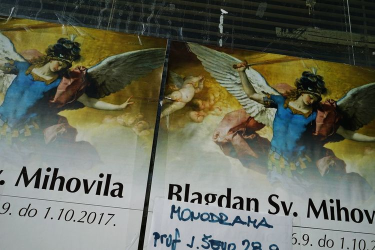 Archangel Archangel Michael Michael Religion And Beliefs Religion And Tradition Celebration Church Angel Poster Art Outdoors Cityscape Information Medium Photography Bildfolge Two Information Advanced Notice Notice Tape On