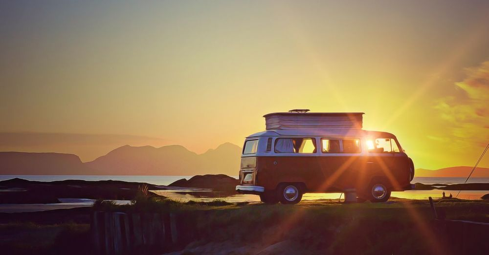 Camper van vw Holiday VW Bus Camper Van Land Vehicle Lens Flare Mode Of Transport Mountain Nature Outdoors Sky Sun Sunlight Sunset Transportation The Traveler - 2018 EyeEm Awards The Great Outdoors - 2018 EyeEm Awards