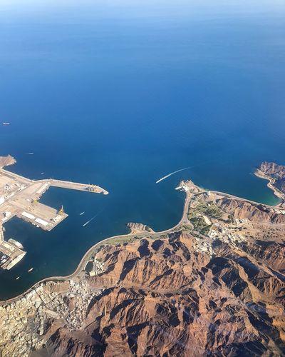 High angle view of island and sea
