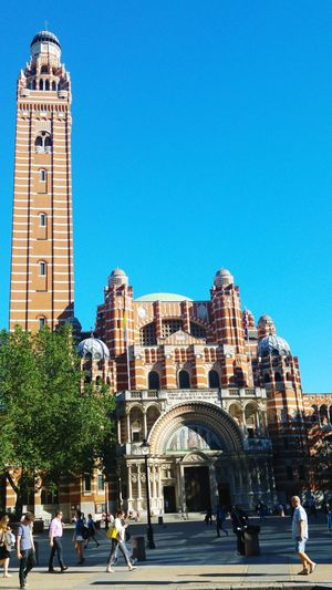 Church Westminter Cathedral Victoria London Bright Sunny Day Clear Blue Sky Hot Day Architectural Structure Worship Places Religious Architecture Street Photography