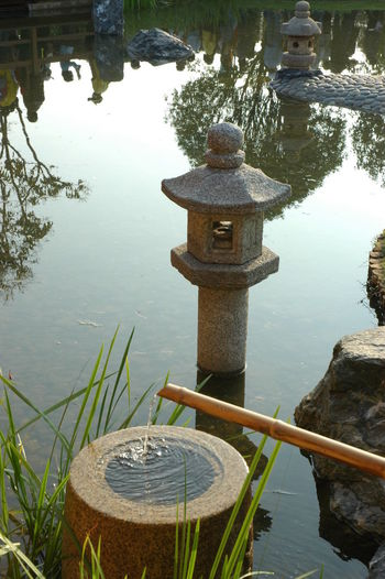 High angle view of cross in lake