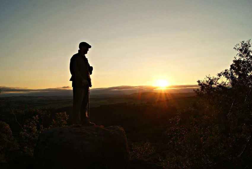 Enjoy The New Normal Standing Looking One Person Nature Scenics Landscape Sunset One Man Only Outdoors Men Beauty In Nature Timeforacuppa TimeForTea PeakDistrict Derbyshire Flatcap Nature People Sky Gardomsedge Sunsetsillhouette Go Higher