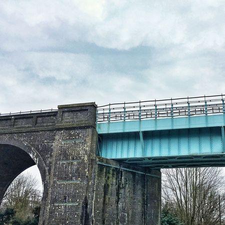Bridge of contrasts Cloudy Blue Contrast Contrasting Colors Bridge - Man Made Structure Connection Architecture Cloud - Sky Built Structure Sky Day