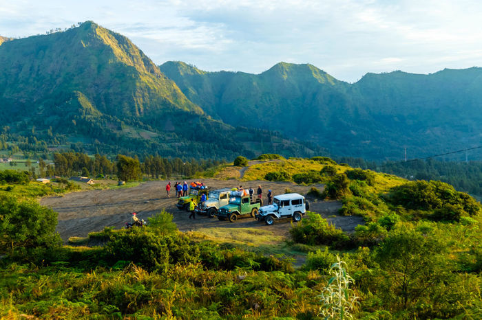 Amazing view of four wheel drive in mountain in early morning Amazing View FJ40 Top Beauty In Nature Bj40 Bromo Day Early Morning In Mountain Jeep Jeep Tours Landscape Malang, Indonesia Mountain Mountain Range Mountains Nature No People Outdoors Scenics Sky Sunrise Tree