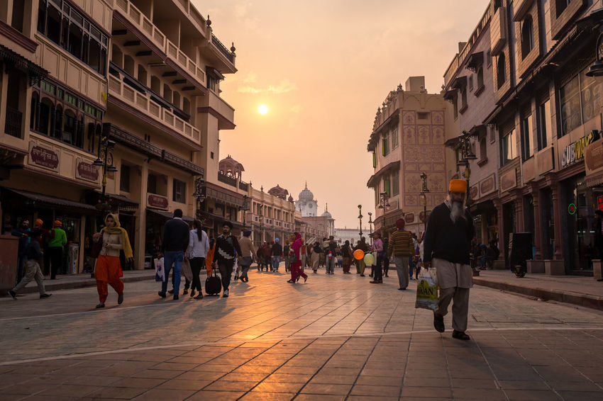 Pedestrian Zone leading the Golden Temple, Amritsar, India Architecture City Golden Golden Temple I India People Punjab Punjabi Sikh Sikh Temple Sky Street Sunset Travel Destinations Walking