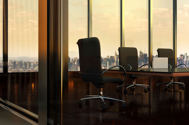 empty Boardroom in Office Building, with view of New York City through windows, New York, USA BoardRoom New York City Architecture Business Chair Cityscape Glass - Material Indoors  Modern Office Office Chair Table Transparent Window