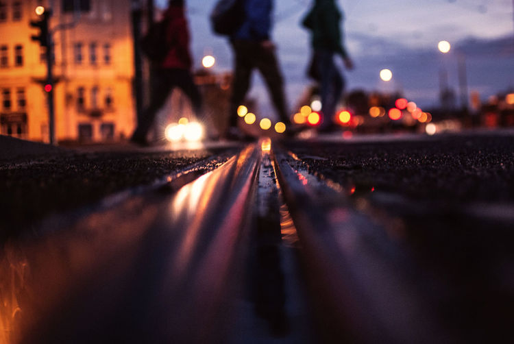 Surface level of tramway at night